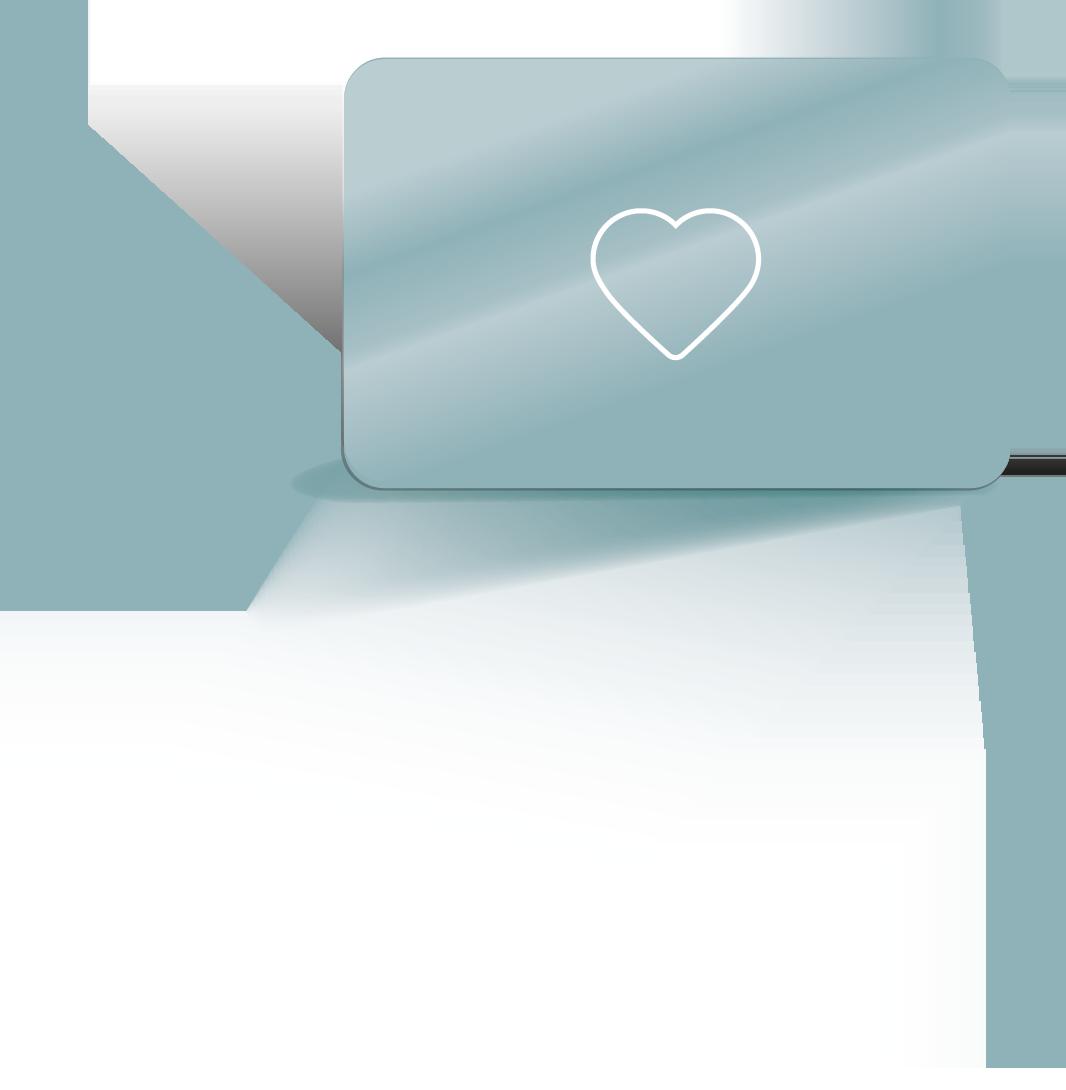 Bank card heart, fan of loyalty cards