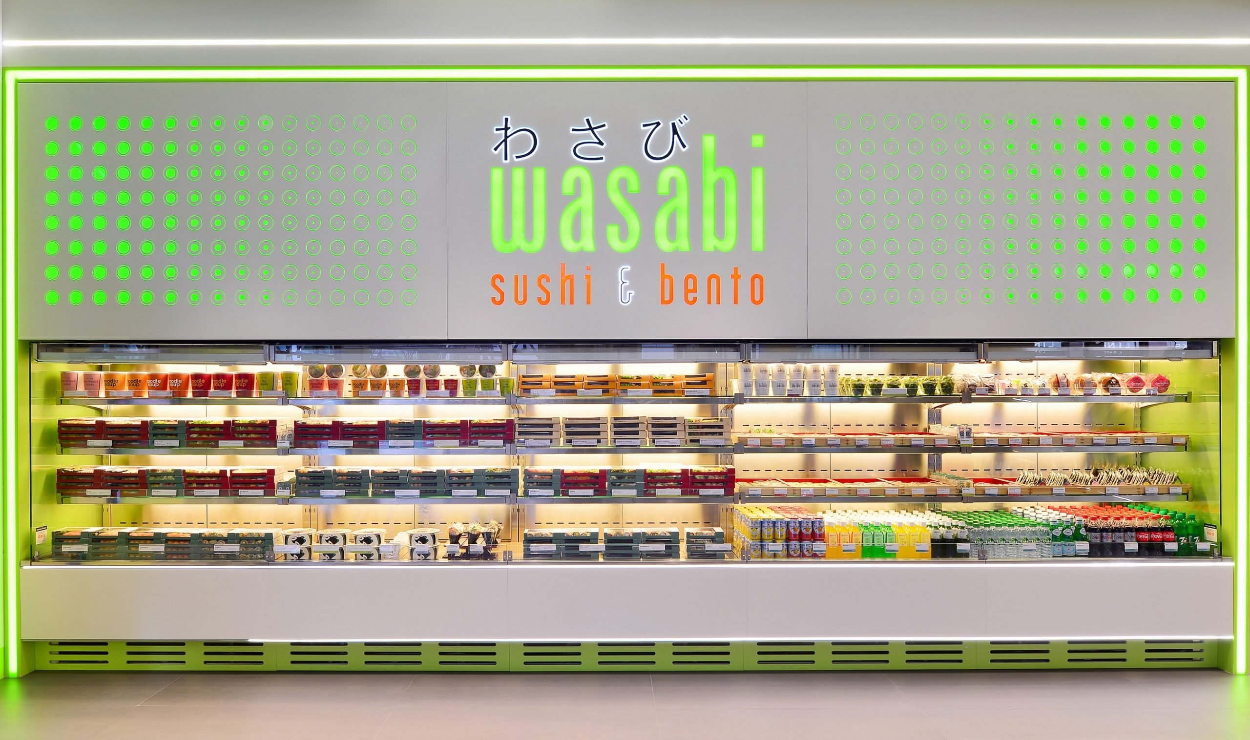 Wasabi store front, sushi counter